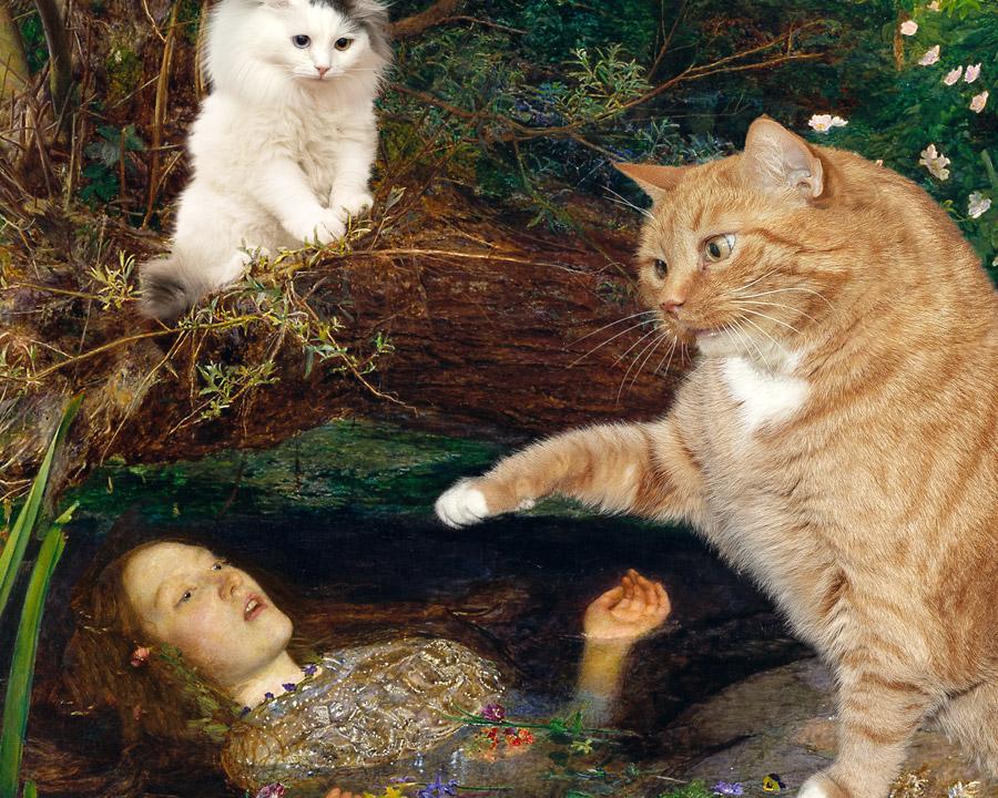 Sir John Everett Millais, Ophelia and Cats, detail