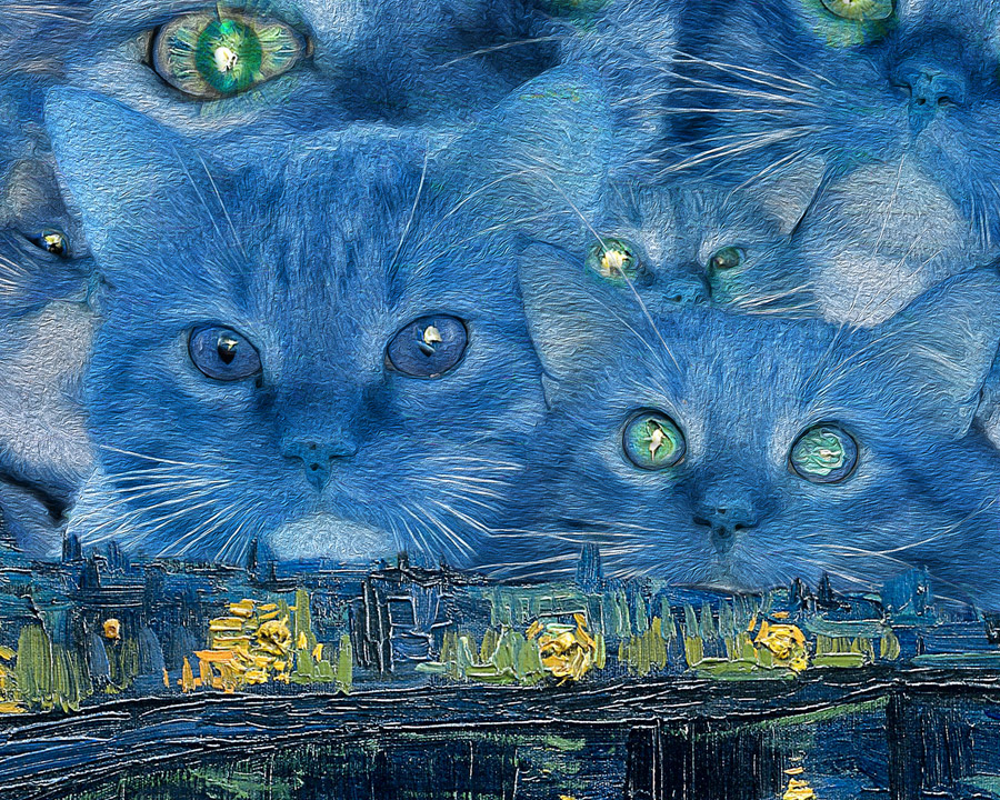 Vincent van Gogh, Furry Starry Night over the Rhone, detail